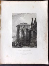 Holmes C1840 Antique Print. Church of St. Jacques, Dieppe, France